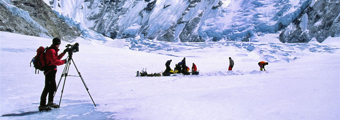 David Films Climbers Erecting Camp 1, Mt. Everest
