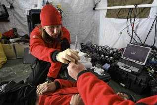 Doctors Performing Medical Research at Camp 2, Mt. Everest