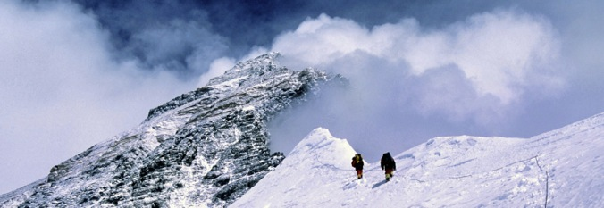 Two Climbers Traverse the West Ridge, Mt. Everest